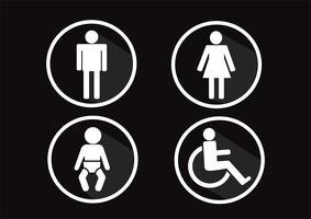 Simbolo del bagno Icona di disabilità uomo donna e bambino