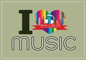 amo Music and Music is My Life tipo di carattere parola con segni idea design vettore