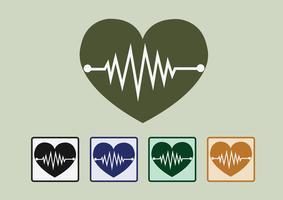 Icone dell'onda di cuore vettore