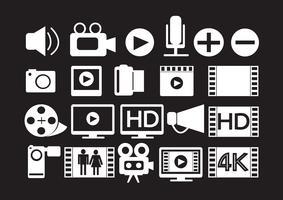 Icone di film video multimediali vettore