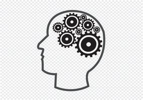 Concetto di idea del cervello degli ingranaggi e della testa umana vettore