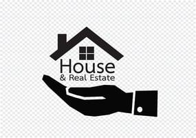 Icona della mano e della casa Concetto del bene immobile