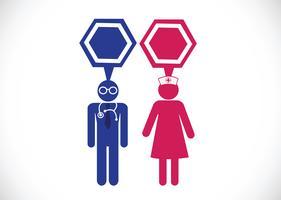 Icone di infermieri e medico