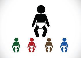 Icone di bagno pittogramma bambino