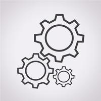 Segno dell'icona dell'ingranaggio simbolo vettore