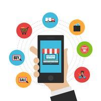 icona piana dello shopping online vettore