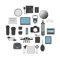 set di strumenti per fotografi vettore