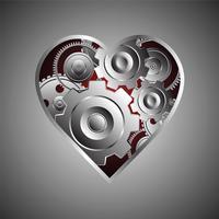 cuore di metallo sullo sfondo
