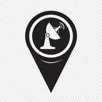Icona della parabola satellitare del puntatore della mappa vettore