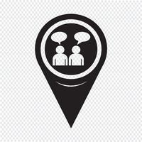 Icona di conversazione della gente del puntatore della mappa vettore