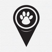 Icona di stampa della zampa del puntatore della mappa