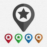 Icona stella puntatore mappa vettore