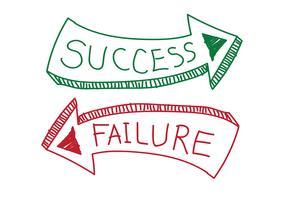 Simbolo del segno di successo e fallimento vettore
