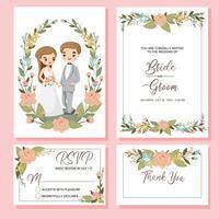 carino sposi sul modello di carta di inviti di nozze vettore