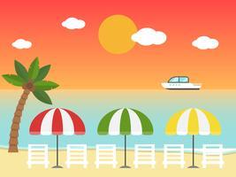 Sedie a sdraio e ombrelloni sulla spiaggia al tramonto vettore