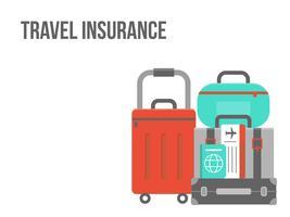 Assicurazione di viaggio, bagagli con biglietto e passaporto vettoriale