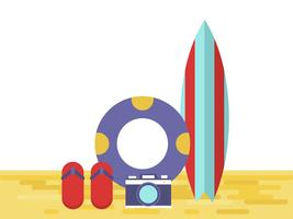 Tavola da surf, macchina fotografica, anello di nuoto e infradito