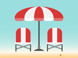 Sedie a sdraio e ombrellone in spiaggia vettore