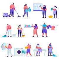 Set di personaggi dei lavoratori di servizio di pulizia e riparazione piatti. Servizio di persone dei cartoni animati di addetti alle pulizie professionali al lavoro, lavaggi, aspirapolvere. Illustrazione vettoriale