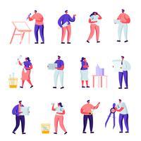 Set di personaggi dei lavoratori di edificio piatto, progettazione e ingegneria. Cartoon People Architects, Graphic Designer and Engineers Working on Projects, Painting on Blueprints. Illustrazione vettoriale
