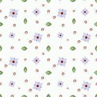 Modello vettoriale di fiori, ramoscelli e foglie