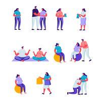 Set di piatti donne incinte felici e i loro personaggi mariti. Cartoon People Women Fitness Attività sportiva, trascorrere del tempo insieme a fare shopping, acquistare abbigliamento per bambini. Illustrazione vettoriale