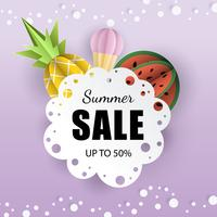 La carta dell'insegna 3d del fondo dell'estate di vettore ha tagliato con pizzo, gelato. Ananas e anguria di frutta. Volantino per vendite pubblicitarie