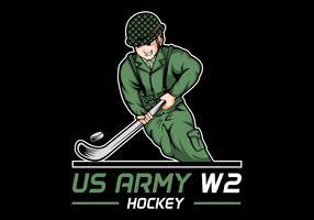Illustrazione di vettore dell'hockey della guerra mondiale 2 dell'esercito americano