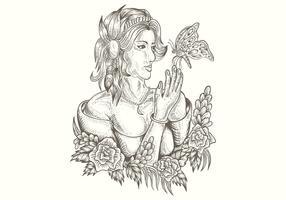 donna e farfalla illustrazione vettoriale disegnato a mano