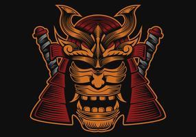 testa di samurai disegno vettoriale illustrazione