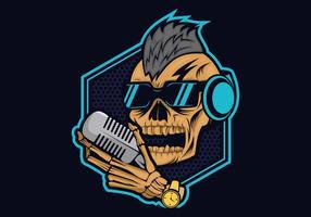 illustrazione di disegno vettoriale cranio podcast