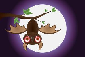 Buon Halloween, pipistrello, ramoscelli, con la luna, scene di sfondo, sfumature di viola