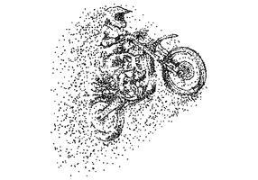 illustrazione vettoriale di particelle di motocross