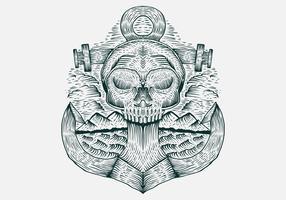 Illustrazione disegnata a mano di vettore dell'ancora del cranio