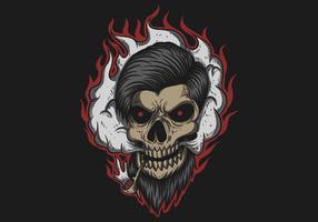 Illustrazione di vettore del fumo dell'uomo del cranio
