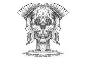 cranio illustrazione spartana vettoriale