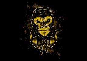 cuffia gorilla oro vettore