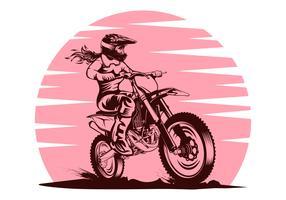 Illustrazione femminile di disegno di vettore di motocross