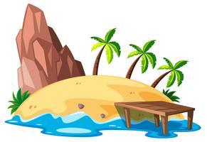 Scena della natura con isola e oceano