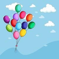Palloncini colorati che galleggiano nel cielo vettore