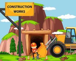 Scena di lavori di costruzione con uomo e bulldozer vettore