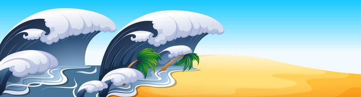 Scena dell'oceano con grandi onde vettore