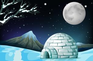 Scena con igloo nella notte di luna piena