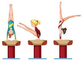Set di caratteri di atleti di ginnastica femminile vettore