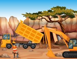 Bulldozer e camion di scarico sul campo vettore
