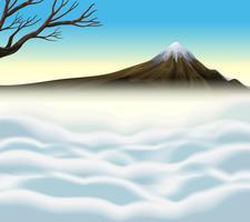 Scena della natura con vulcano e nebbia