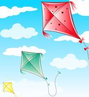 Tre aquiloni che volano nel cielo blu vettore