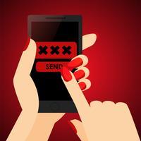 Sexting, invia una foto erotica nella mano di una donna. Diciotto e più contenuti. Banner piatto vettoriale