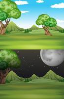 Scena della natura con campo e alberi vettore