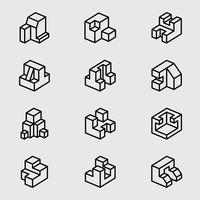 Icona linea isometrica di base vettore